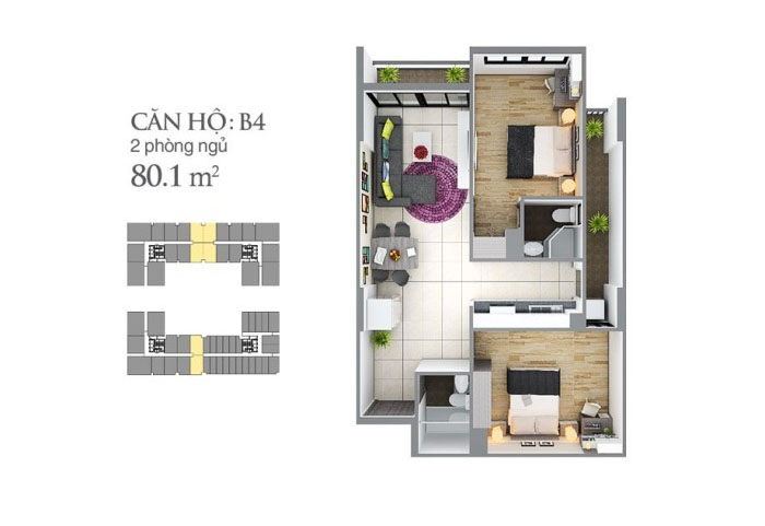 mẩu căn hộ 80,1 m2