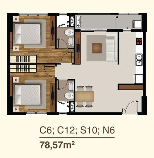 thiết kế căn hộ sài gòn mia 2 phòng ngủ