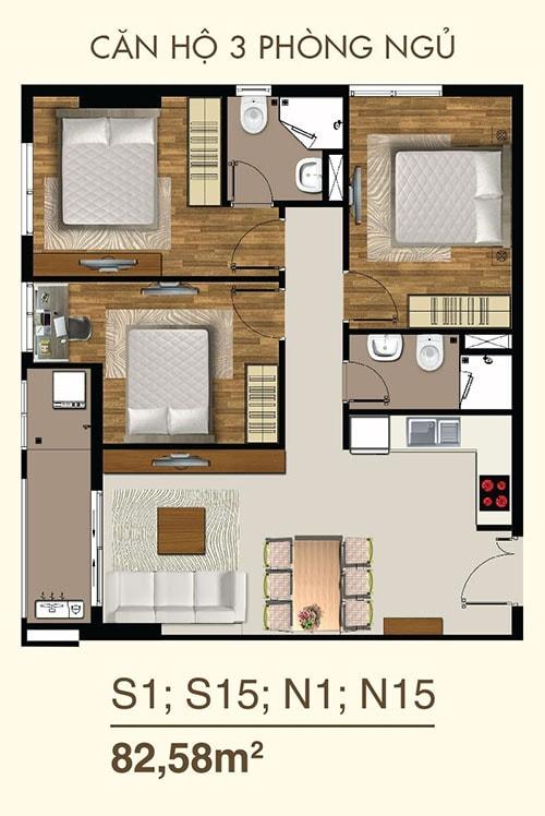 thiết kế căn hộ sài gòn mia 3 phòng